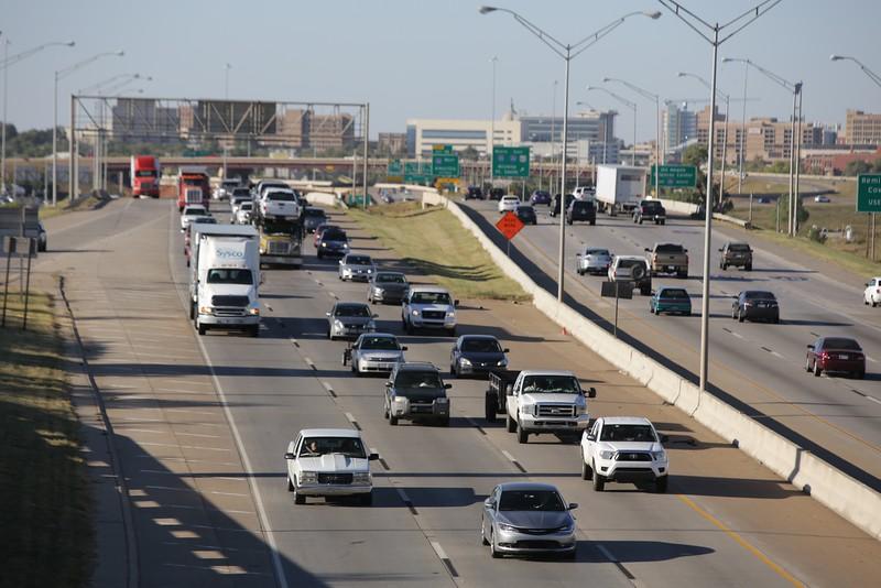Traffic on I-35 in Oklahoma City.