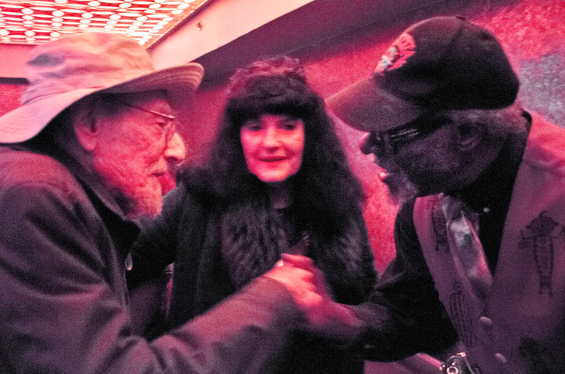 "2018.02.11_Memorial 2B1 PARTY celebration for Jim Dancer at 1915 Folsom St. - LEFT: Julius Karpen, Former manager of ""Big Brother and the Holding Company""; Rebecca Nichols; RIGHT: Lester Chambers, jazz musician"