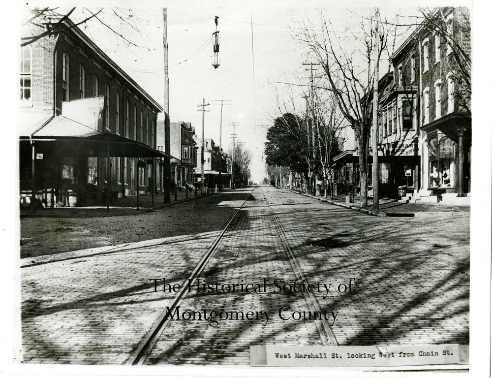 . This undated photo from the Historical Society of Montgomery County shows West Marshall Street looking west from Chain Street in Norristown.