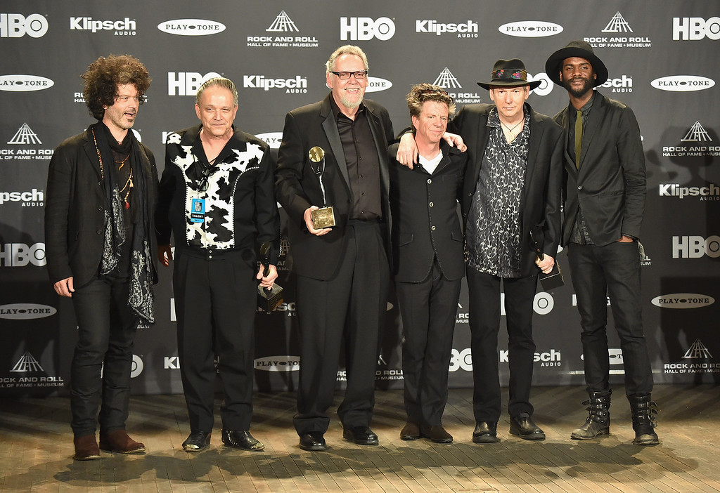 . (L-R) Doyle Bramhall II, Jimmie Vaughan, Reese Wynans, Chris Layton, Tommy Shannon and Gary Clark Jr. attend the 30th Annual Rock And Roll Hall Of Fame Induction Ceremony at Public Hall on April 18, 2015 in Cleveland, Ohio.  (Photo by Michael Loccisano/Getty Images)