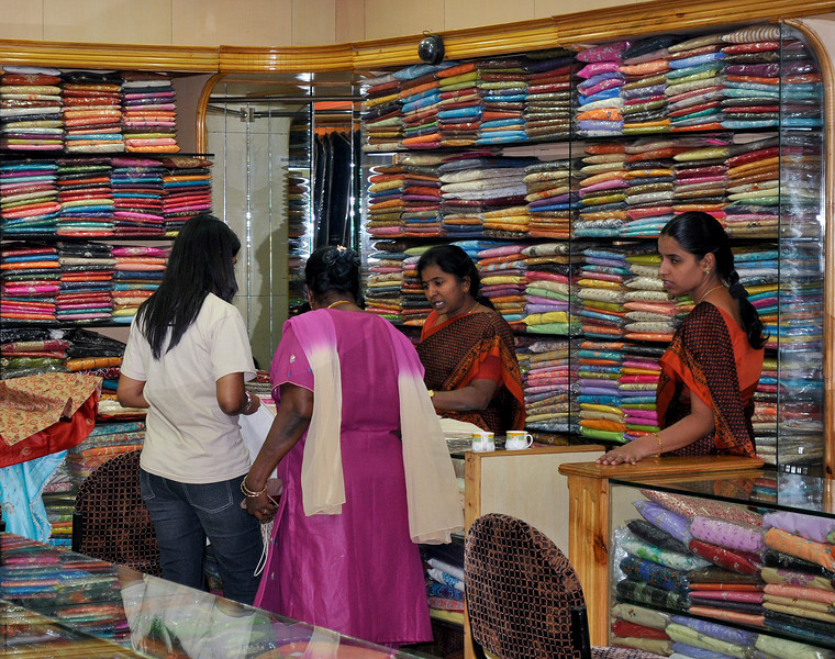 Ladies shopping for saris.
