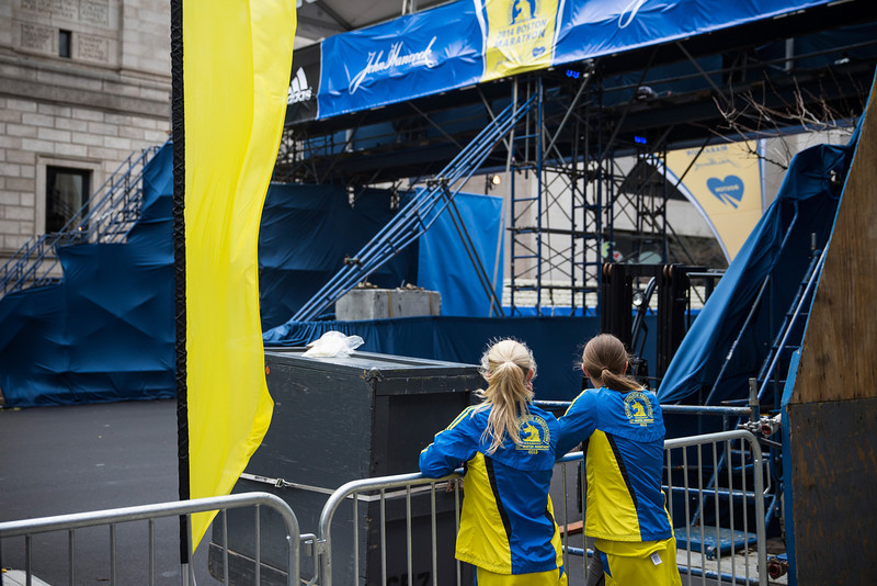 . Two runners pause near the finish line for the Boston Marathon on the one year anniversary of the 2013 Boston Marathon Bombing , on April 15, 2014 in Boston, Massachusetts. Last year, two pressure cooker bombs killed three and injured an estimated 264 others during the Boston marathon, on April 15, 2013. Neary says she was standing near the site of the bombing before it went off.  (Photo by Andrew Burton/Getty Images)