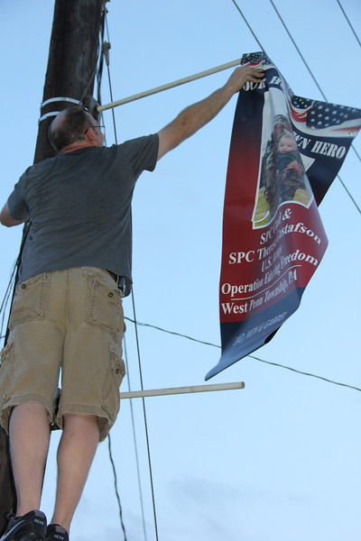 Citizens Fire Company Placing Veteran Banners on Poles, Tamaqua (8-29-2013)