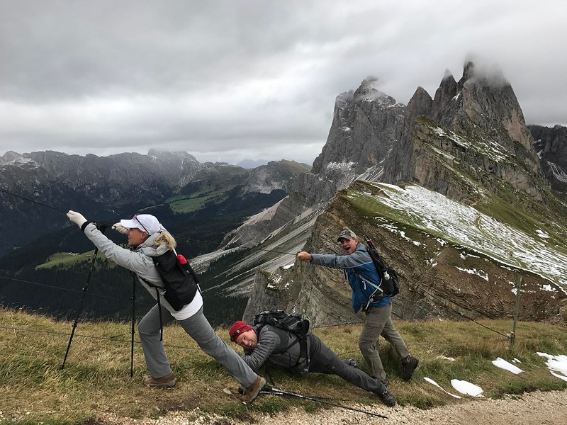 Almost to the Top!  Erika Holm. Dolomites self-guided 2017  Photo subjects:  Shelly Graves, Steve Holm, Randy Graves