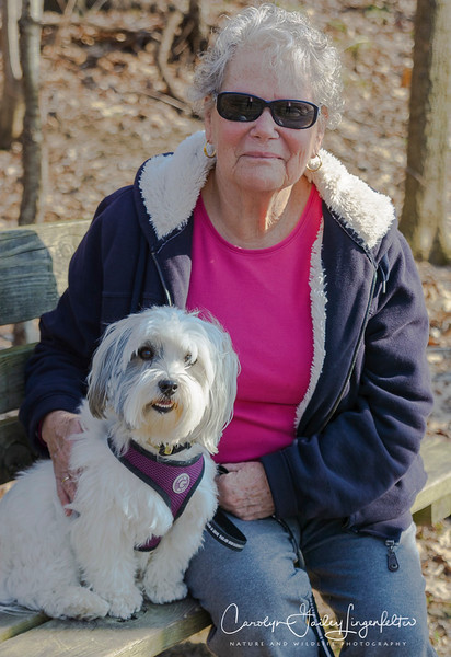 Scampy with Ellen, Chagrin River Park, February 23, 2017