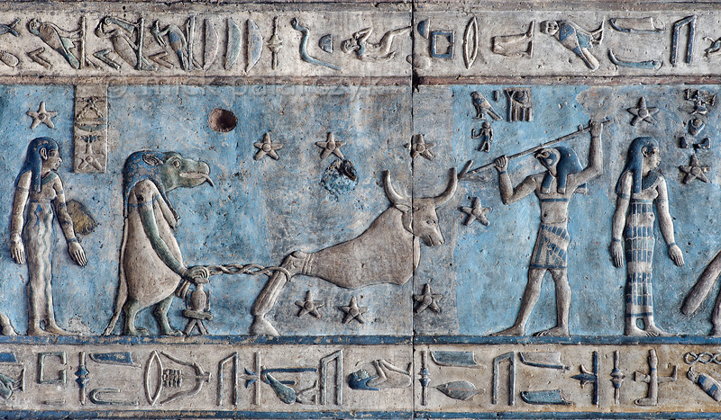 """[EGYPT 29586] 'Big Dipper and Draco on astronomical ceiling at Dendera.'  This detail of the astronomical ceiling in the outer hypostyle hall of the Hathor Temple at Dendera shows several deities, most of which are related to heavenly bodies and the hours of the night. The astronomical ceiling consists of seven separate strips but here we are looking at a segment of the upper register of the WESTERNMOST STRIP. The bull-like figure in the centre personifies the constellation of the Big Dipper (its seven conspicuous stars are depicted around the figure). From other sources we know that he was called Meskhetiu and was associated with the evil god Seth. He is held captured by chain which is attached to a mooring post that is watched over by a hippopotamus goddess. She is named Isis-Djamet and can be most likely identified with the constellation of Draco. The mooring post is the celestial pole around which the Big Dipper revolved in ancient Egyptian times. And thus the evil Seth/ Big Dipper was unable to escape from the guard of Isis (the hippo) and wander off among the rest of the starry gods. (In the last 4000 years the celestial pole has moved away from Draco to the present Polestar, due to precession.) From the right the Seth bull is speared by a falcon-headed god who is named here """"Horus, fighter against enemies"""". He is likely to represent one of the other circumpolar constellations. In Egyptian mythology Horus fought with Seth after the latter had killed Osiris, father of Horus. On the left and right, the two standing goddesses who have a star above their head are personifications of the second and third hour of the night. This part of the Dendera Temple was built during the Roman period (first century AD). Photo Mick Palarczyk."""