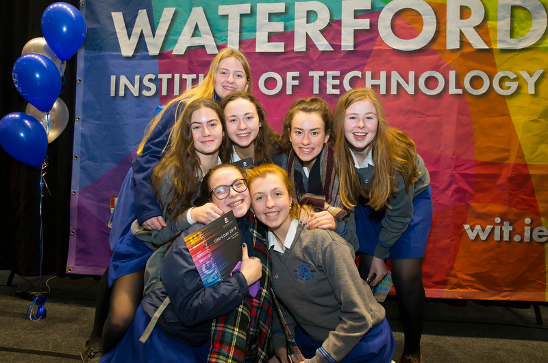 FREE TO USE IMAGE. Pictured at WIT's Autumn Open Days in the WIT Arena are Sarah Cuddihy, Leah Dowling, Ciara Walsh, Abby O'Connell, Ciara Notton and Ellie Holohan from Loreto Secondary School Kilkenny. Picture: Patrick Browne  WIT's Autumn Open Days in the WIT Arena were on Friday, 23 November and Saturday, 24 November 2018. The Schools Open Day on Friday attracted thousands of secondary school students.  The event focused on undergraduate entry for September 2019 but also showcases the opportunities for postgraduate learning and research and flexible study through our School of Lifelong Learning & Education.  The institute has 70 CAO courses across a range of discipines including,business,engineering and architecture, sports and nursing, law, social sciences, arts and psychology, the creative & performing arts, languages, tourism and hospitality, science and computing.   WIT's Autumn Open Days included presentations on all CAO courses, including new courses for 2019, as well as the opportunity to experience what it would be like to study on those courses and talk to lecturers directly.