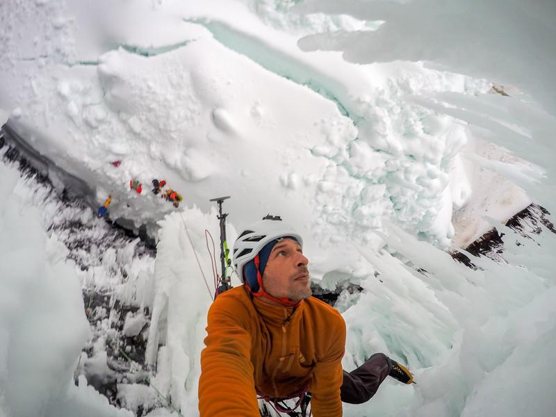 "Klemen Premrl, bolting the upper part of  ""Interstellar Spice"" Helmcken Falls, Wells Gray Provincial Park, BC, Canada. February 2016"