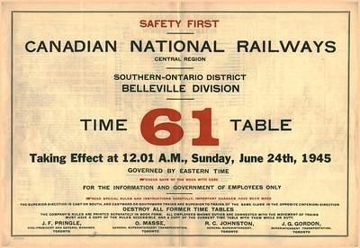 CNR Timetable 1945 June 24th Belleville Division