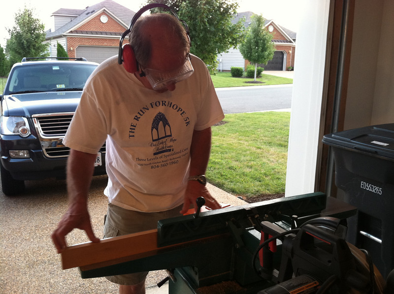 Stan Deutsch planing the boards.