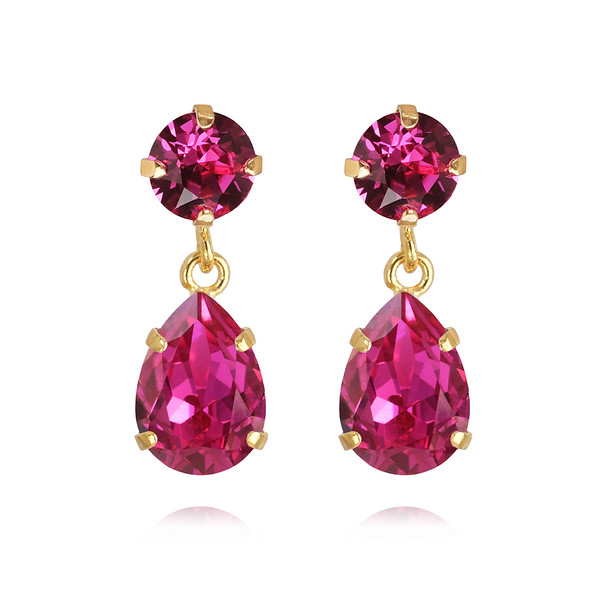 Mini Drop Earrings / Fuchsia Gold