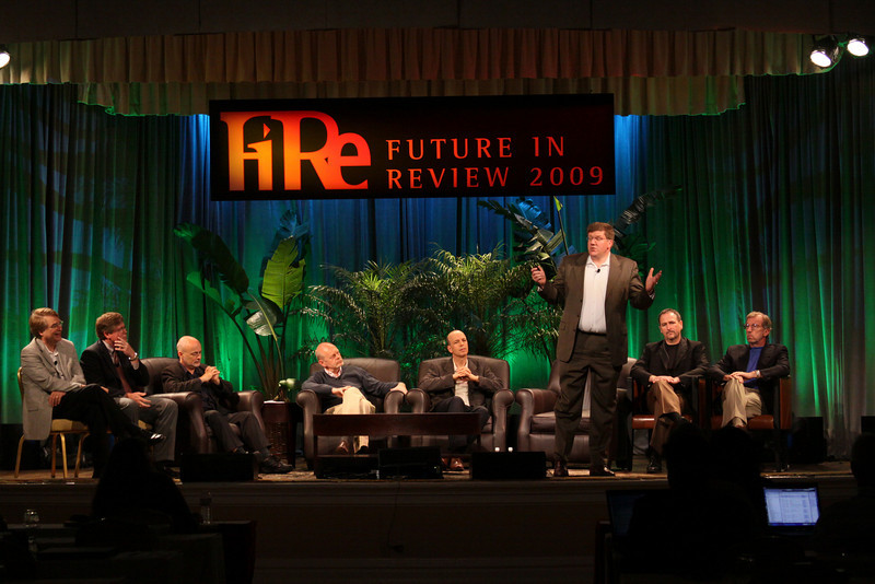 """FiRe CTO Design Challenge: """"Water Beyond Tomorrow"""": (L-R) Larry Smarr, Director, Calit2 (the """"FiRe Lab""""), UCSD; Bill Rose, Director, Right of Way, San Diego Water Authority; host David Brin, Author and Physicist; Kris Halvorsen, SVP and Chief Innovation Officer, Intuit; Jon Prange, Venture Business Manager, San Diego Zoo; Ty Carlson, Architect, SiArch Group, Microsoft; Joe Burton, CTO, Cisco; and Eric Openshaw, Vice Chair and U.S. Technology Leader, Deloitte"""