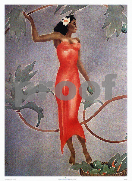 085: Stencil art print with Hawaiian woman by Gill, titled 'Wahine in Red Dress.' Vintage airbrush painting from ca 1944. PROOF watermark does not appear on your print.