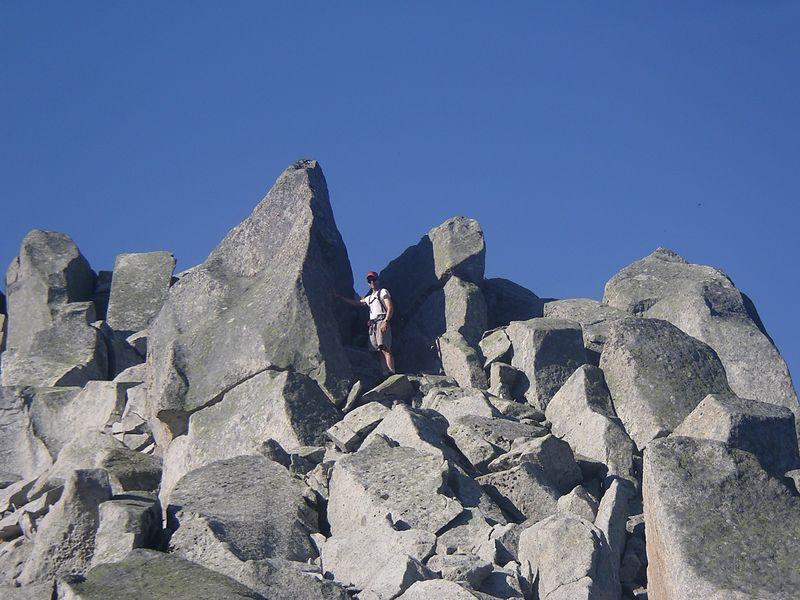 Scrambling up boulders.