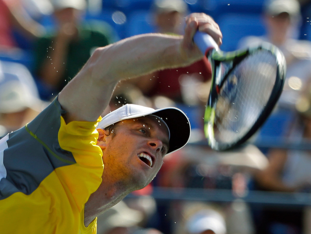 . Sam Querrey serves to Guido Pella, of Argentina, during the first round of the 2013 U.S. Open tennis tournament Tuesday, Aug. 27, 2013, in New York. (AP Photo/Kathy Willens)