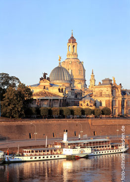 """The majestic cupola of the Frauenkirche crowns the skyline of Dresden along the Elbe again, as if it has never been destroyed during the bombardment of 1945. Photo Sylvio Dittrich.  <i>(Attention: this picture is not made by us and is not included in any feature price arrangement by us. This photo can be obtained in high resolution <a href=""""http://www.foto-dittrich-dresden.de""""><font color=""""#608bc1"""">at our collegue Sylvio Dittrich</font></a>).</i>"""