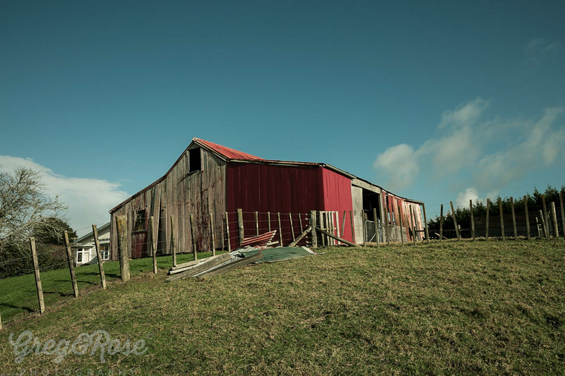 Old Red barn on a Hill