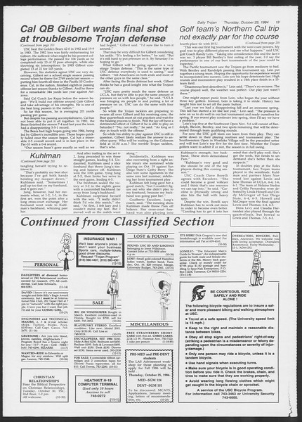 Daily Trojan, Vol. 97, No. 38, October 25, 1984