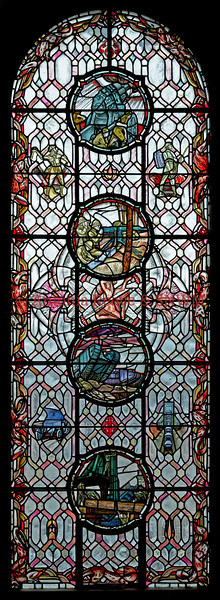 SNWM - Machinery of War window: stained glass by Douglas Strachan