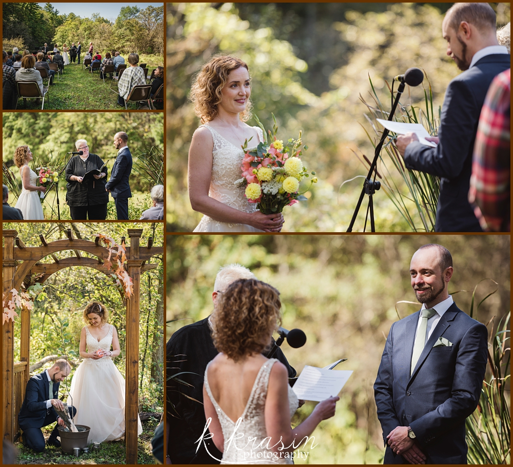 Collage of photos of wedding ceremony