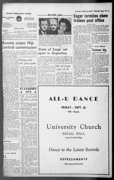 Daily Trojan, Vol. 36, No. 209, September 27, 1945