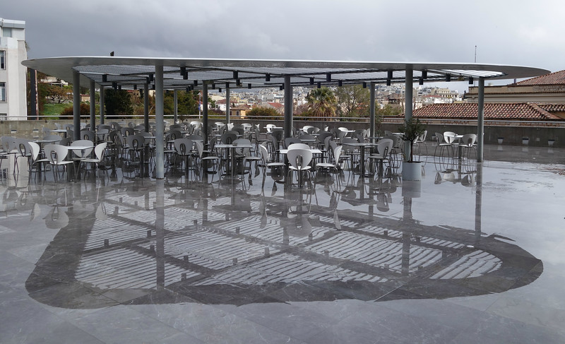 at Acropolis Museum cafe after rain