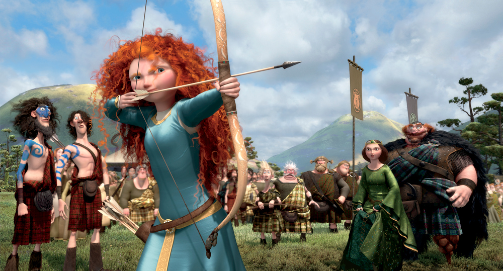 Description of . This film image released by Disney/Pixar shows the character Merida, voiced by Kelly Macdonald, in a scene from