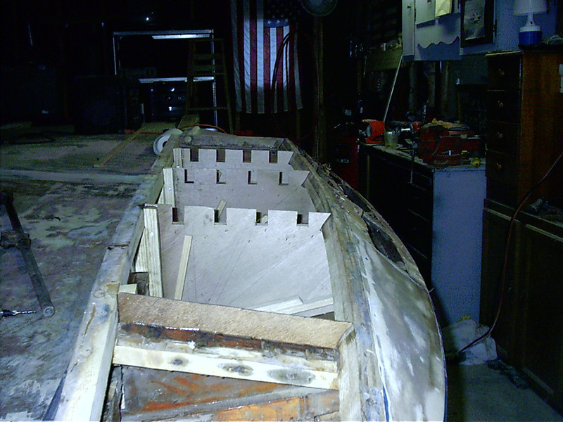 Front view of starboard sponson with new plywood gussets installed.