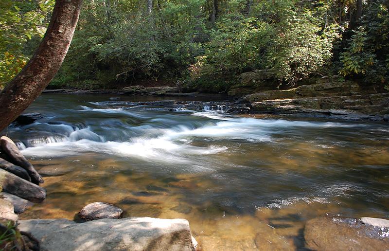 Rocks creating mini cascades in a river