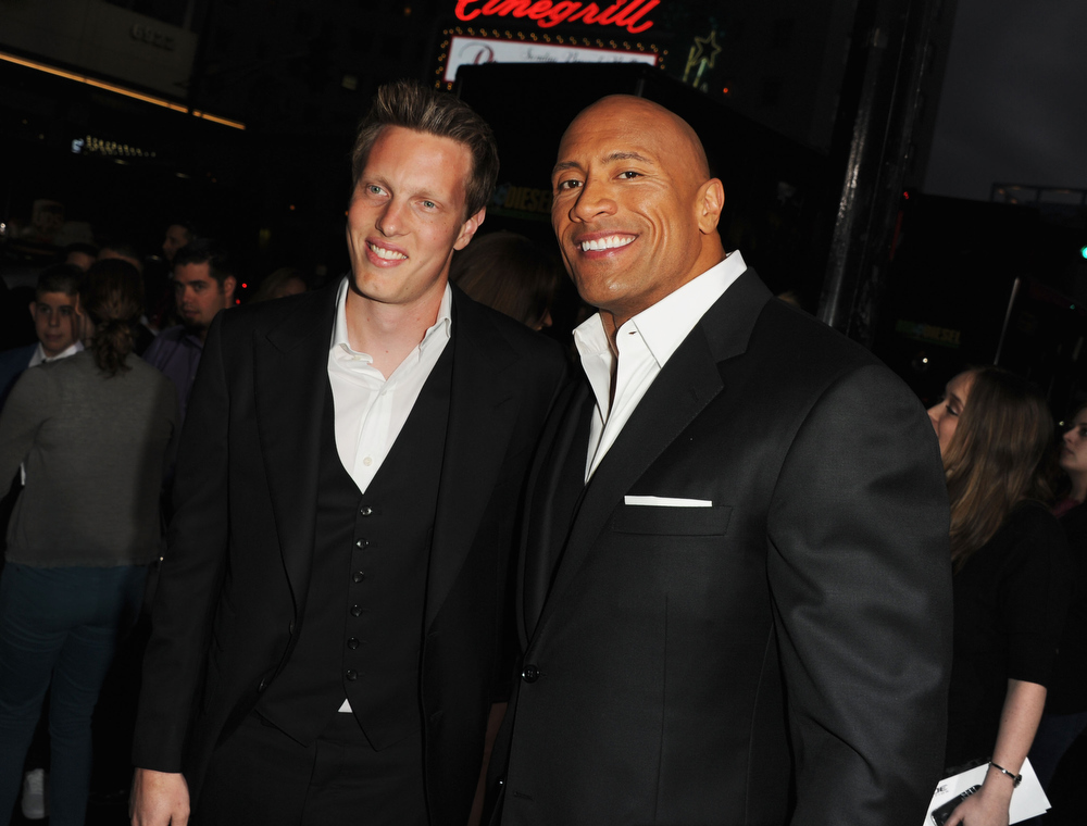 ". Executive Producer David Ellison and actor Dwayne Johnson attend the premiere of Paramount Pictures\' ""G.I. Joe:Retaliation\"" at TCL Chinese Theatre on March 28, 2013 in Hollywood, California.  (Photo by Kevin Winter/Getty Images)"