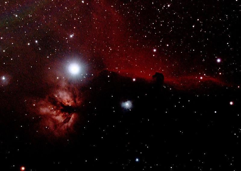 IC434 Horsehead Nebula and NGC2024 Flame Nebula near Star Alnitak - 3/1/2014 (Processed cropped stack)