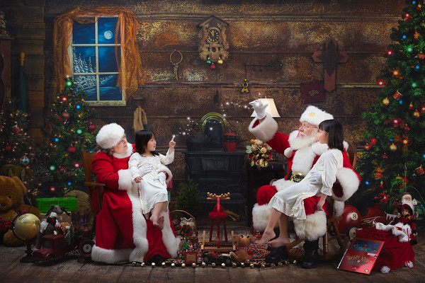 Portrait with Santa and Mrs Claus