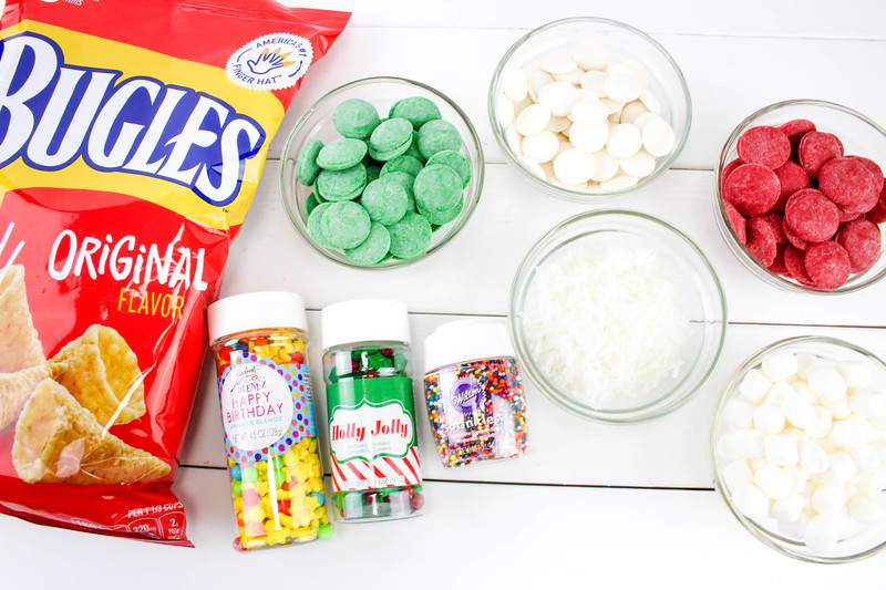 ingredients for Oh Christmas Tree and Santa Hat Bugle Treats