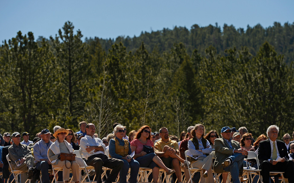 . CONIFER, CO-May 17, 2013: People attend the dedication of Colorado\'s newest state park, Staunton State Park, May 17, 2013. It has been 27 years since Colorado got a new state park. The park, west of Conifer, will open to the public May 18. (Photo By RJ Sangosti/The Denver Post)