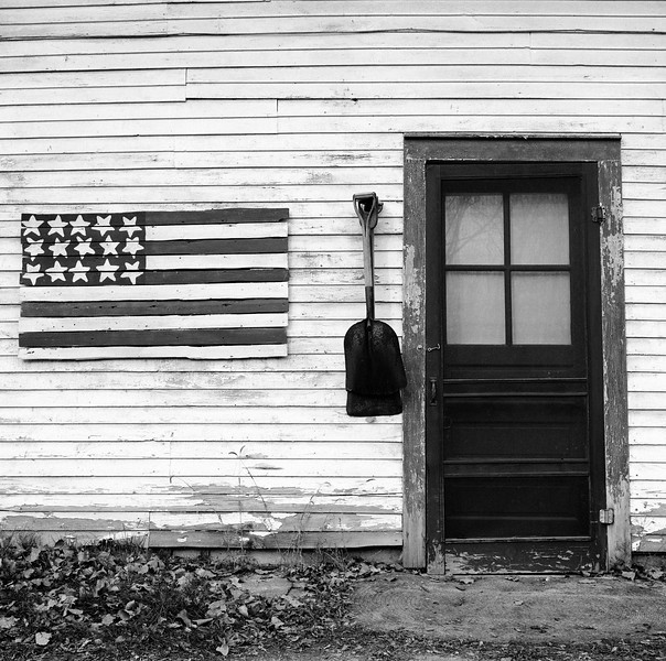 American Flag and Shovel, Crown Point, NY. November 2000