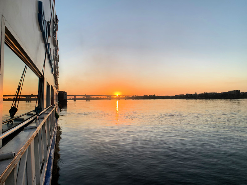 Sunset on the Nile River in Egypt
