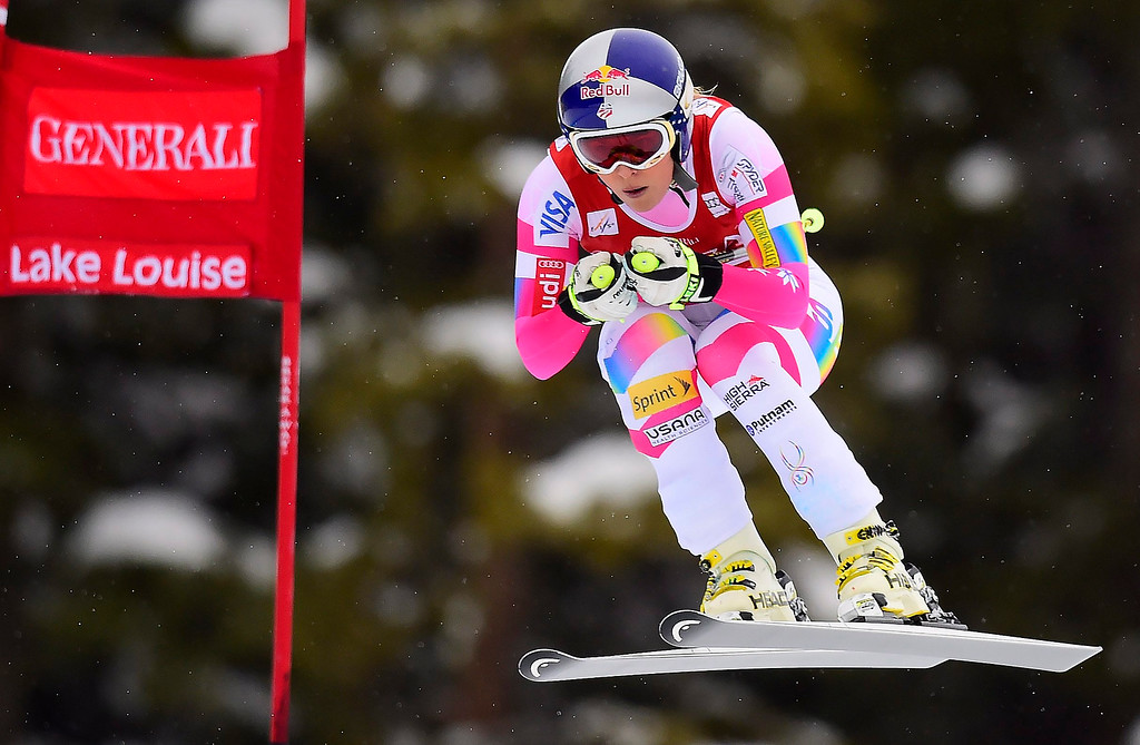 . Lindsey Vonn of the United States, races down the course during the women\'s World Cup downhill ski race in Lake Louise, Alberta, Saturday, Dec. 6, 2014. (AP Photo/The Canadian Press, Frank Gunn)