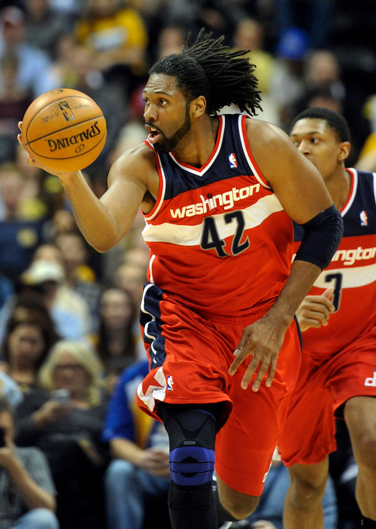 . DENVER, CO - JANUARY 18: Washington forward Nene pushed the ball up the court in the second half. The Washington Wizards defeated the Denver Nuggets 112-108 at the Pepsi Center Friday night, January 18, 2013. Karl Gehring/The Denver Post