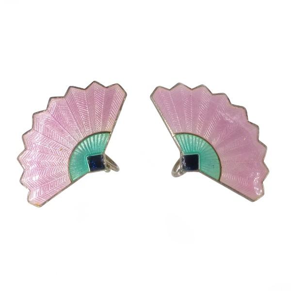 Vintage 1940s Sterling Silver Pink & Green Enamel Screw Back Earrings