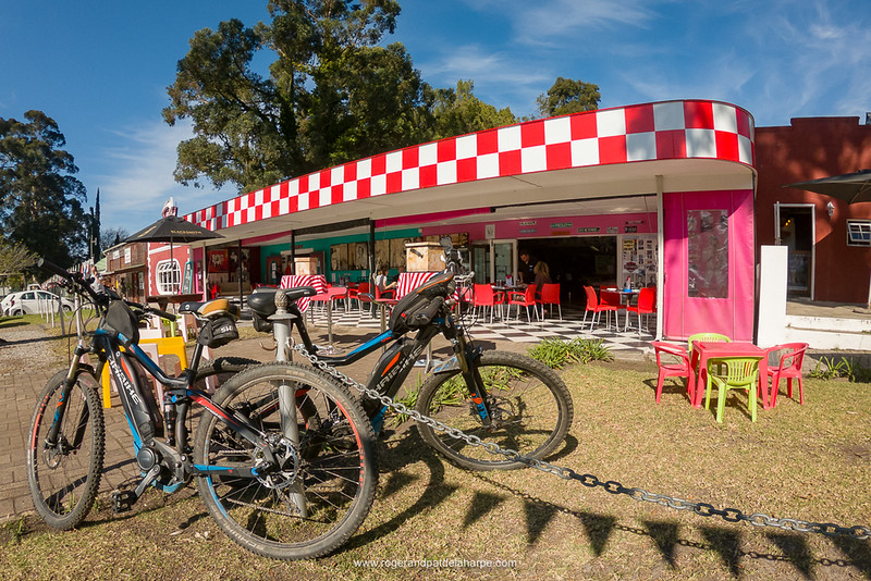 The Haibikes take a rest outside Marilyn's 60's Diner, decked out in all its gaudy splendour.