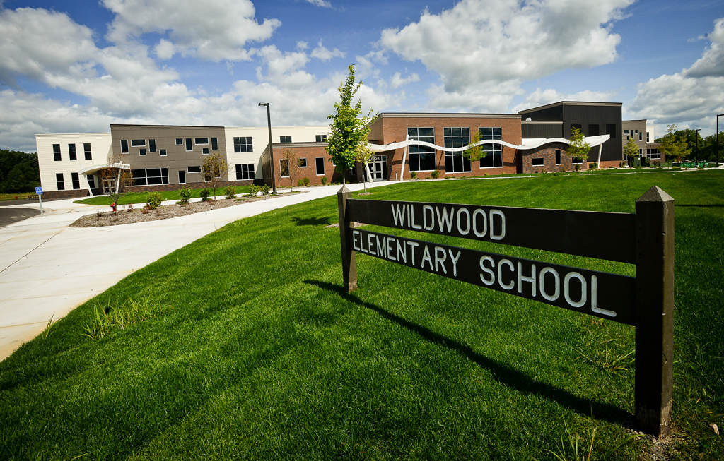 . The $18 million school, just east of Mahtomedi High School and Middle School, replaces the original Wildwood Elementary, now 62 years old. A sign from the old school was moved to the new location. (Pioneer Press: Ben Garvin)