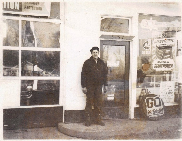 . Union 76 Service Station on Cass Elizabeth Road near Cooley Lake Road, witg Owner George Fetter, standing outside.