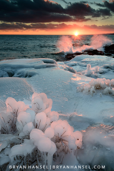 Winter Sunset and Waves