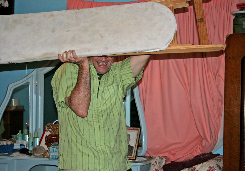dan tormey ruthlessly fighting off a bat that invaded the guest room in dennilton.
