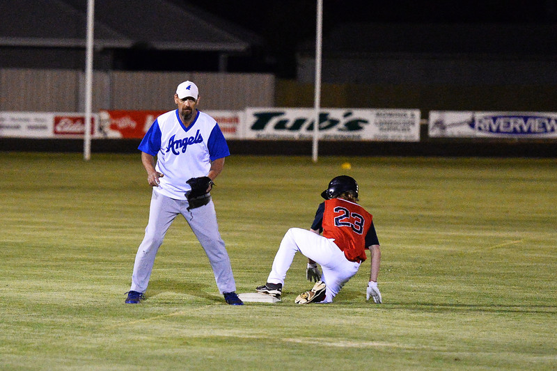 Jesse Frazer (Berri) safe at 3rd  as Kevin McDonald (Renmark) waits for the return