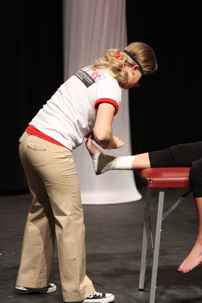 Breanna Davenport showcases her talent by wrapping an ankle blindfolded