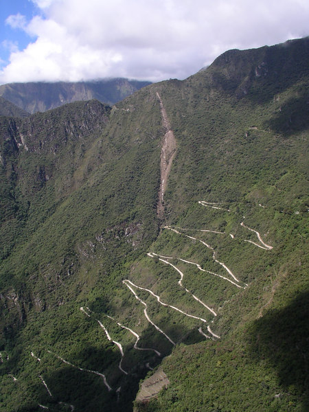 Here you can see the landslide that affected the Inca Trail trek.  Also see the road that leads up to Machu Picchu, which I hiked up (heading straight up mountain, not following the road switchbacks!) in the morning, and took the bus down on in the afternoon.