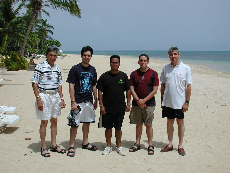 Members of the Dominican Astronomical Society on the private beach of the resort.
