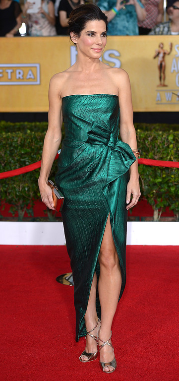 . Sandra Bullock arrives at the 20th Annual Screen Actors Guild Awards  at the Shrine Auditorium in Los Angeles, California on Saturday January 18, 2014 (Photo by Michael Owen Baker / Los Angeles Daily News)