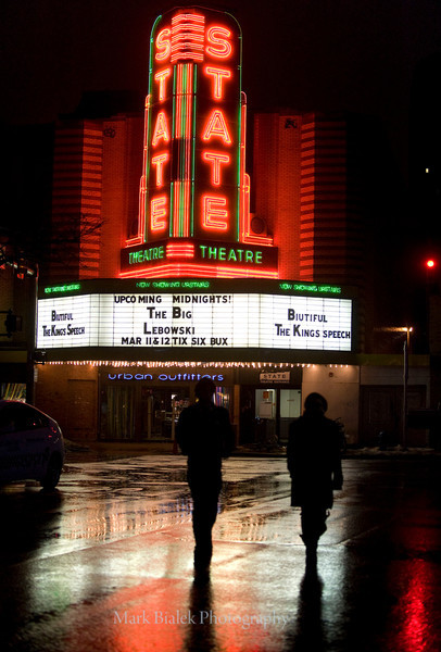 A rainy State Theater scene.
